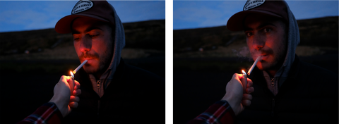 """""""Kyle Bums a Light"""", diptych, 2018, by Kyle Lasky and Wynne Neilly"""