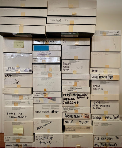 Michael Kenna's archive boxes containing work prints going back as far as the 1980s