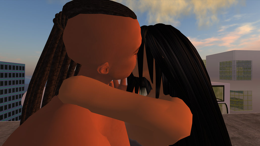 Hunter Kissing Karahkwenhawi, Machinimagraph from TimeTraveller™