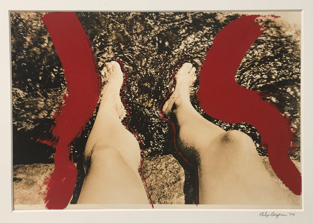Untitled (Diane's Legs with Red painted Contour Lines)