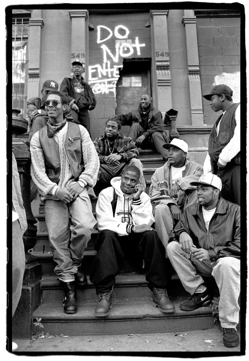 (Temporarily unavailable) Doug E Fresh, posed in the centre of a group, 123rd St, Harlem, New York, 7 November, 1993,