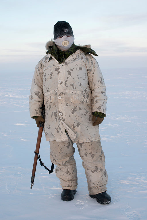 A Canadian Arctic Operations Advisor seen on a reconnaissance patrol in the High Arctic near Resolute Bay in Nunavut, Canada, at temperatures below -50 degrees (-58 F) with the windchill in the High Arctic