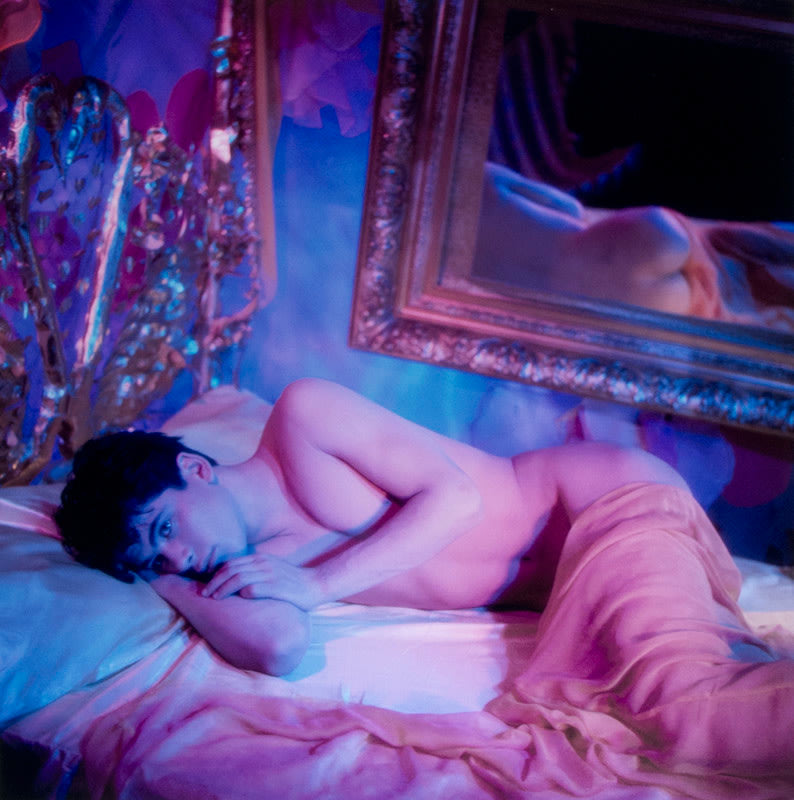 Bobby Lying on Bed Under Pink Chiffon Sheet [146E] - James Bidgood | FFOTO