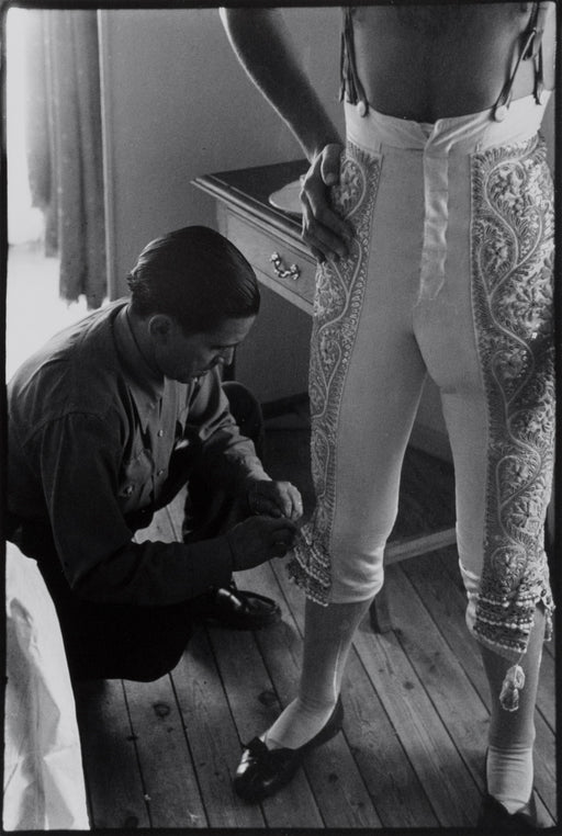 FFOTO-Inge Morath-Dressing of the Bullfighter Antonio Ordóñez for the afternoon corrida, Fiesta of San Fermin, Pamplona, Spain