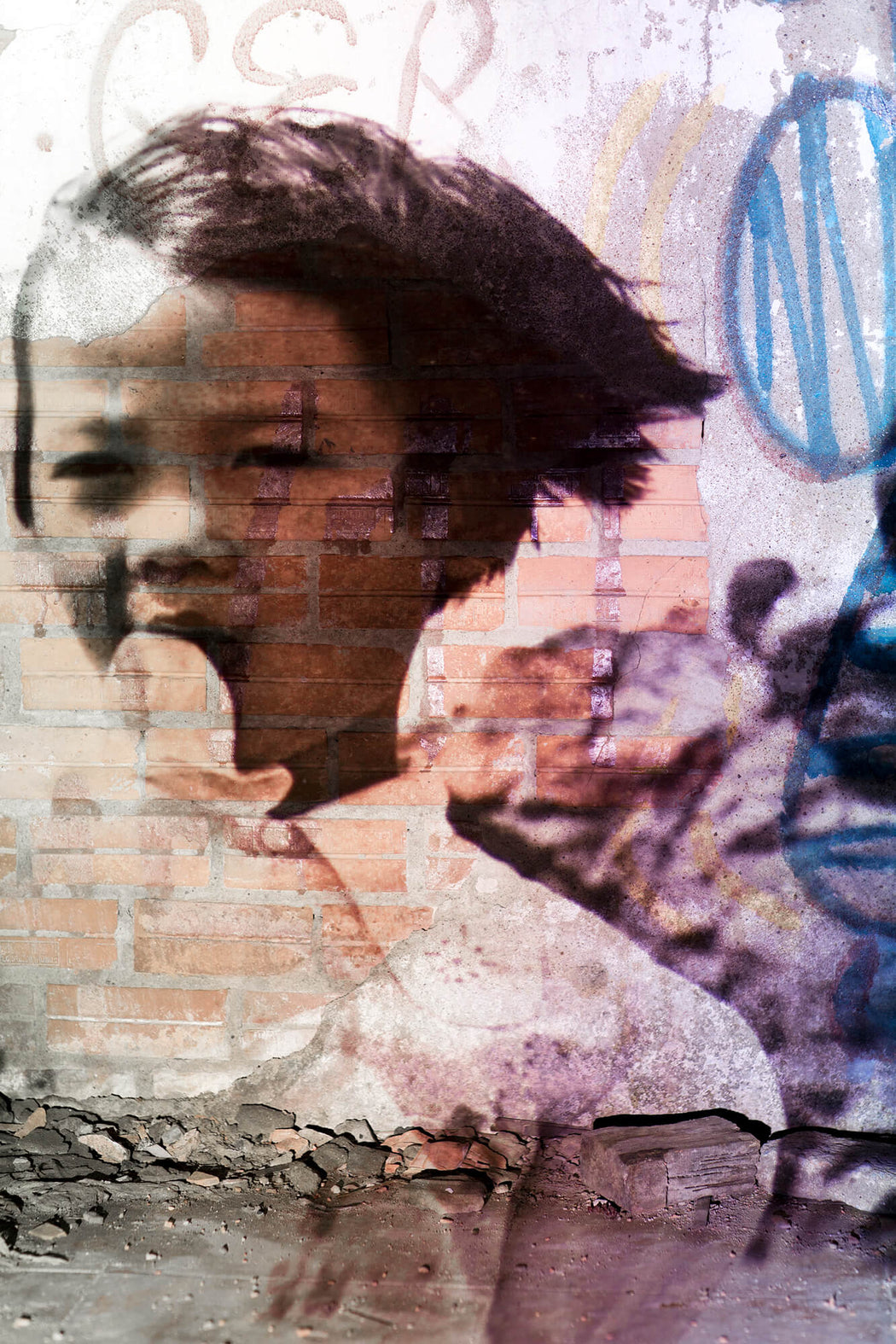 FFOTO-Olivia Marty-Daddy, Why Must This War Be? (projected on a graffiti wall in an abandoned house, in Tran Nao, Saigon)