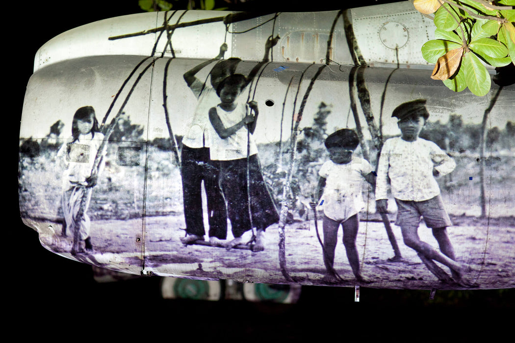 FFOTO-Olivia Marty-From Where We Stand (projected on a Boeing 707-344 aircraft wreck, near Tan Son Nhat, Saigon)