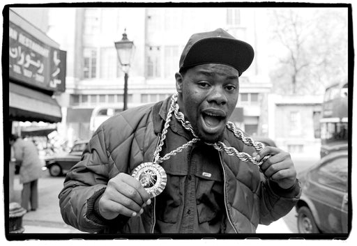 (Temporarily unavailable) Biz Markie on Kensington High Street, London, UK on 5 April, 1988,