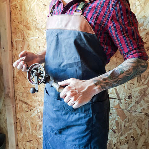 Waxed cotton and Italian leather apron
