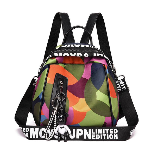 Vacation Mini Colorful Circle Waterproof Zipper Shell Backpacks