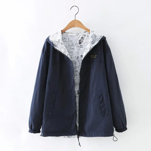 Women hooded two sides clothes jacket