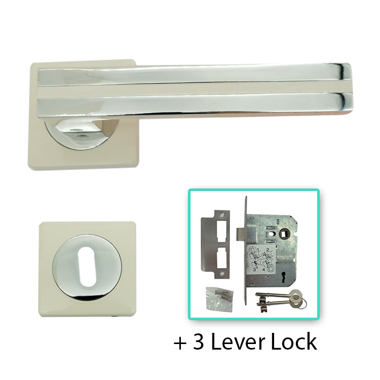 White Door Lever Handle Mortice - BHRAPHAEL