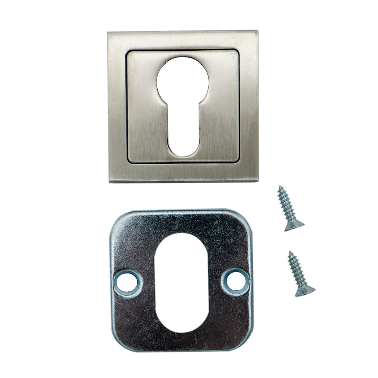 Square Double Cylinder Escutcheon Plate (Pair)