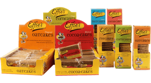 Effie's Homemade line includes Oatcakes, Corncakes, Nutcakes, Cocoacakes, and Ryecakes