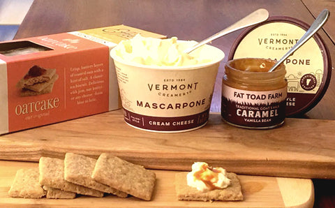 cheese pairing - vermont creamery with caramel vanilla and effies oatcakes