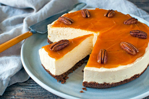 No-bake Pumpkin Cheesecake with Effie's Pecan Nutcake Crust