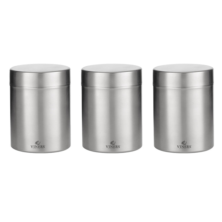 Viners Everyday Set of 3 Stainless Steel Kitchen Storage Jars