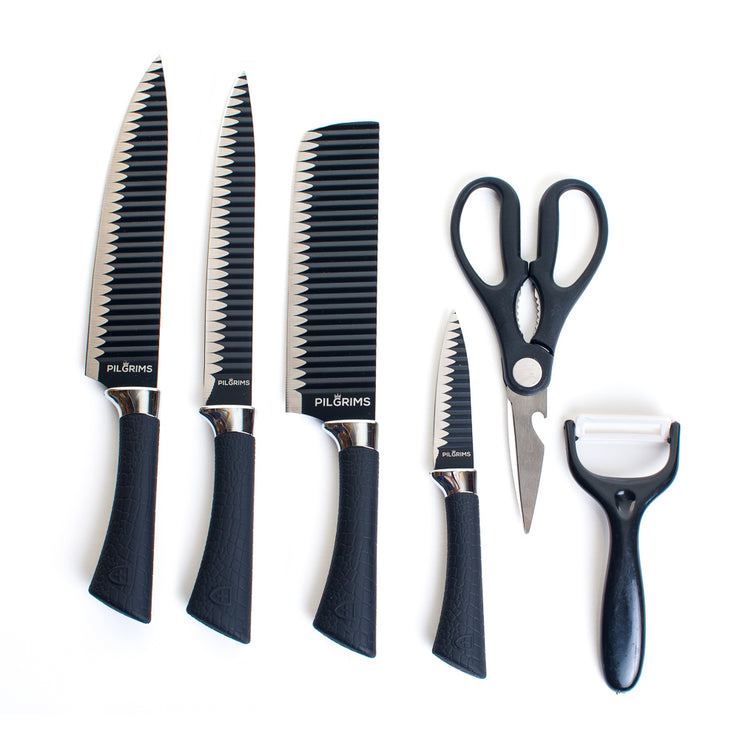 Pilgrims 4 Piece Non Stick Kitchen Knife Set with Scissors & Ceramic Peeler
