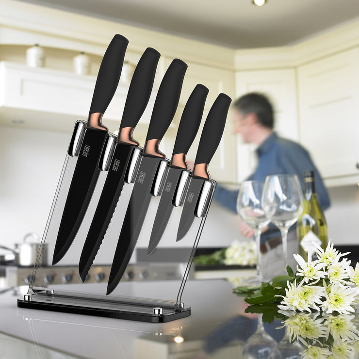 Taylors Eye Witness Brooklyn Copper 5 Piece Knife Block Set