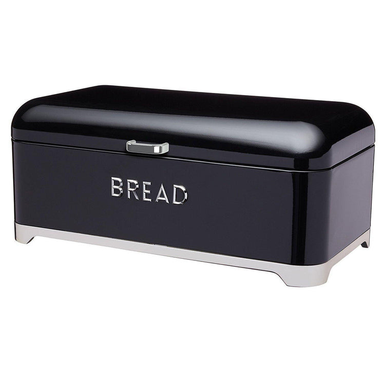 Kitchencraft Lovello Retro Kitchen Bread Bin Art Deco Style in Red Cream Black