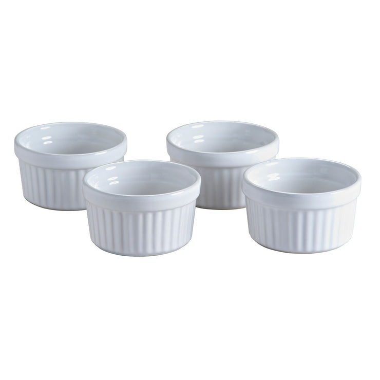 Mason Cash Classic Collection Set of 4 White Stoneware Ramekin Souffle Dishes