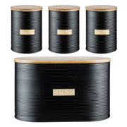 Typhoon Living Otto Tea Coffe Sugar Bread Bin Black Kitchen Storage Set