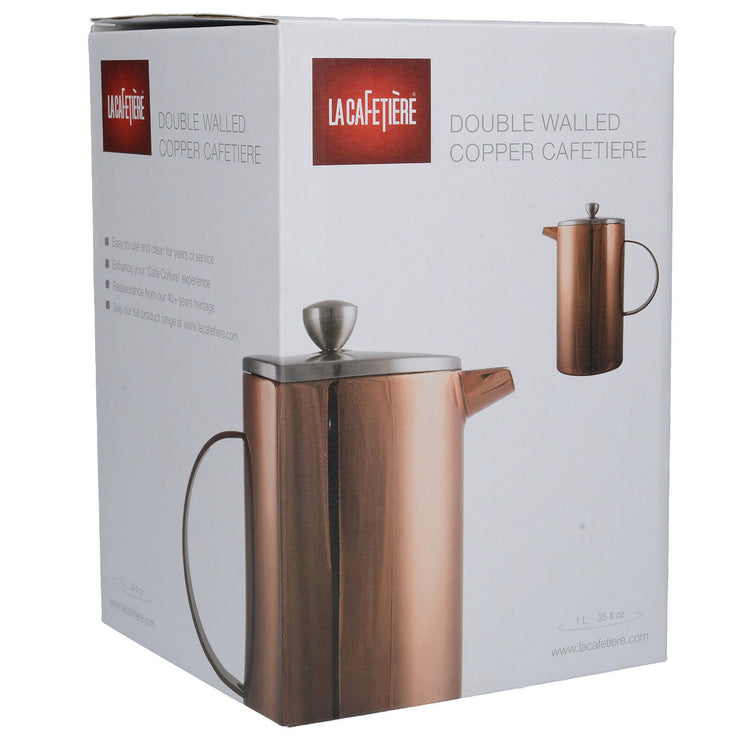 La Cafetiere Double Walled 8 Cup Premium Stainless Steel Copper Cafetiere