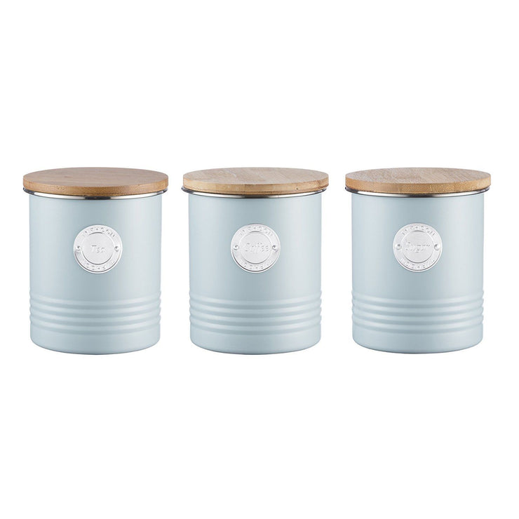 Typhoon Living Blue Tea Coffee Sugar Bread Bin Set