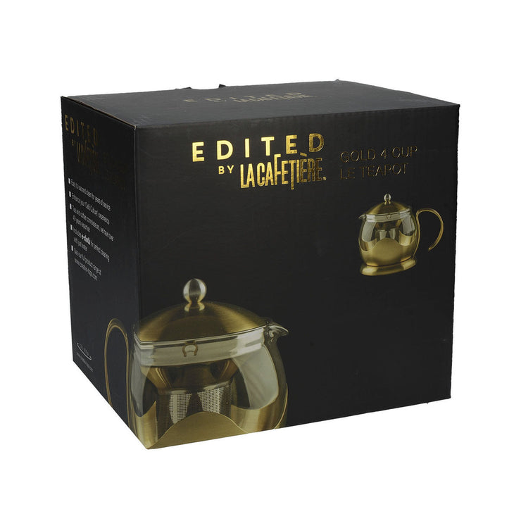 La Cafetiere Edited Brushed Gold Stainless Steel 1200ml Le Teapot with Infuser