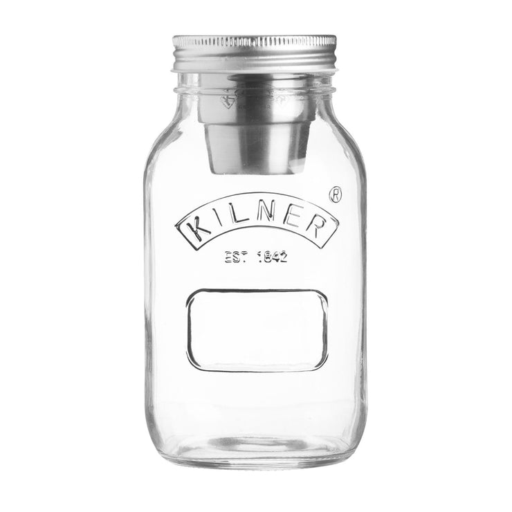 Kilner Food On the Go Jar 1 Litre Lunchbox Salad Jar with Salad Dressing Cup