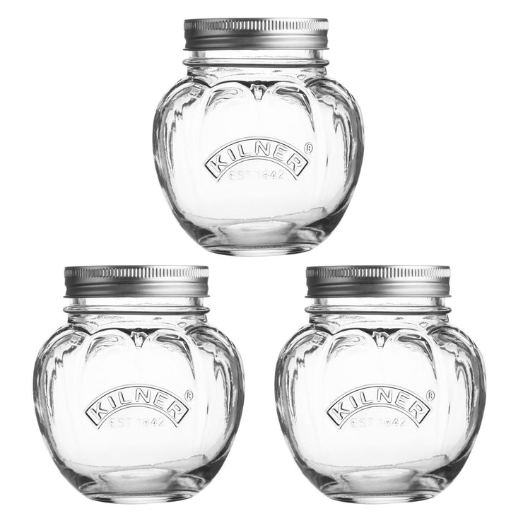 Set of 3 Kilner Fruit Glass Round 0.4 Litre Preserve Jars with Screw Top Lids