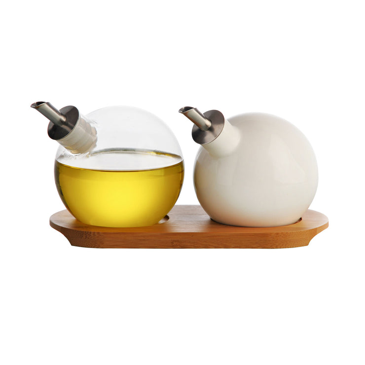 Typhoon Seasonings Set of 2 Glass Orb Oil Drizzlers with Bamboo Tray