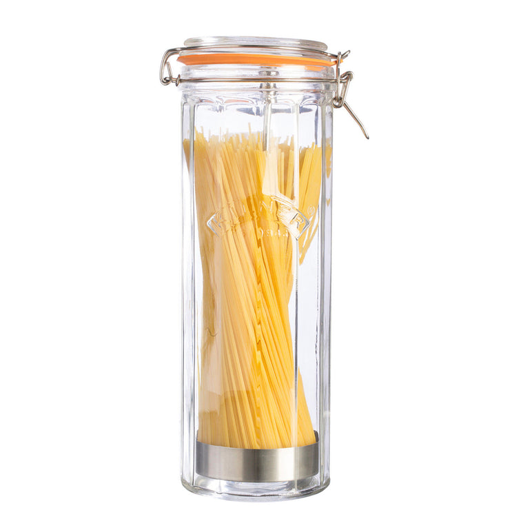 Kilner Facetted Glass Clip Top Tall Spaghetti Jar 2.2 Litre Capacity