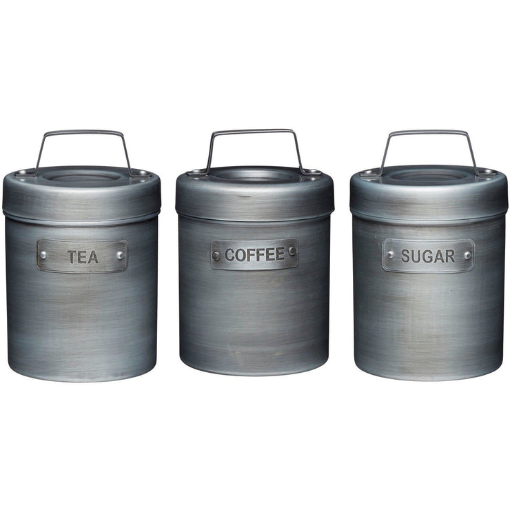 Kitchencraft Industrial Kitchen 3 Piece Tea Coffee Sugar Storage Canister Set
