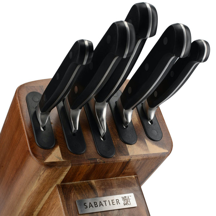 Sabatier Edgekeeper Self-Sharpening Acacia 5 Piece Kitchen Knife Block
