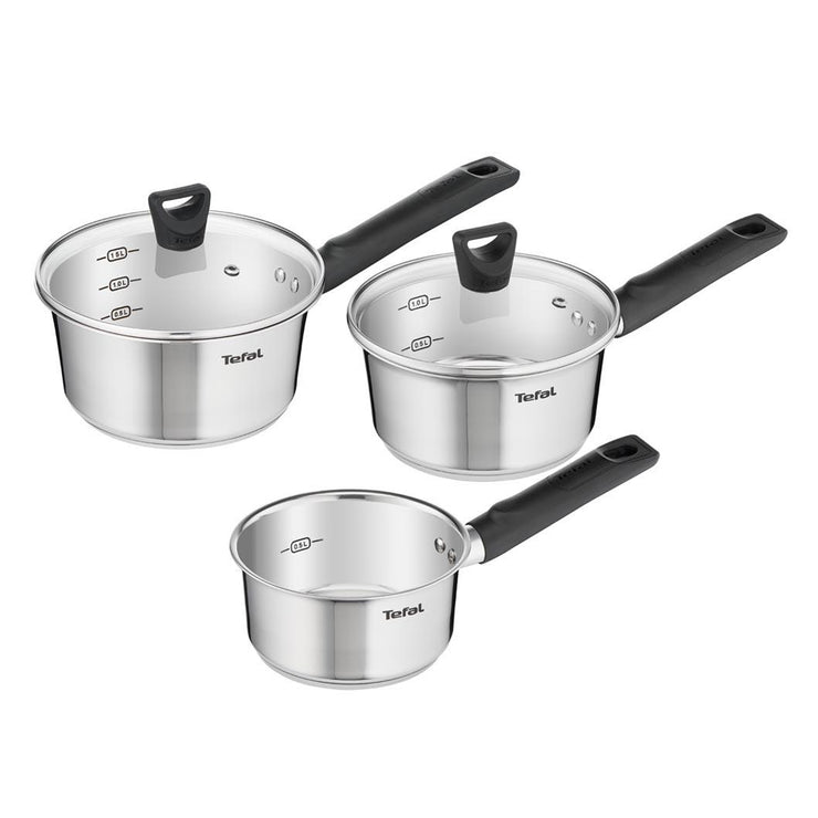 Tefal Simpleo 3 Piece Premium Quality Stainless Steel Kitchen Pan Set