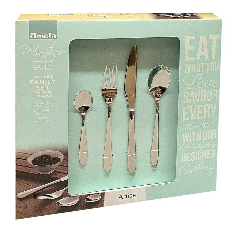 Amefa Masters Anise 18/10 Stainless Steel 24 Piece Cutlery Dining Set