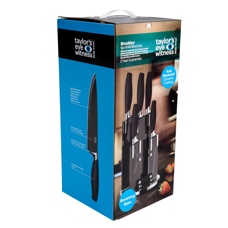 Taylors Eye Witness 5 Piece Kitchen Knife Set with Rotating Knife Block