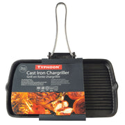 Typhoon 35 cm Folding Handle Cast Iron Rectangular Chargriller Grill Pan