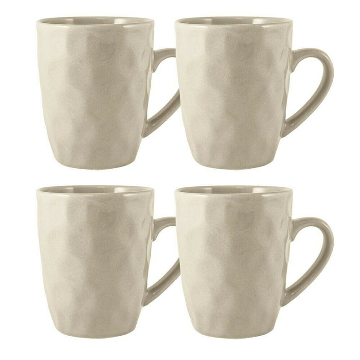 Maison Home Storm Set of 4 Stoneware Hammer Effect Cream Mugs