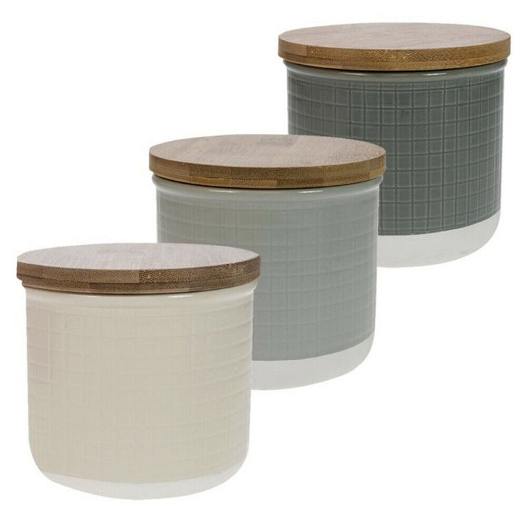 David Mason Maison Purity Embossed Stoneware Set of 3 Kitchen Storage Canisters