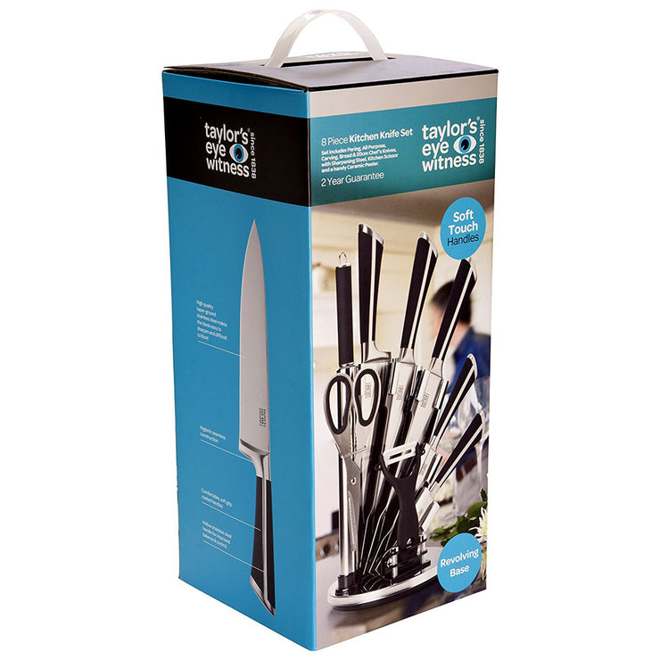 Taylors Eye Witness 8 Piece Kitchen Knife Set with Rotating Knife Block