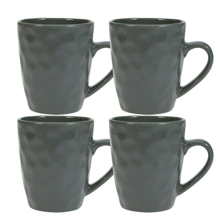Maison Home Storm Set of 4 Stoneware Hammer Effect Grey Mugs