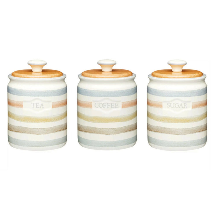Kitchen Craft Classic Collection Striped Ceramic Tea Coffee Sugar Storage Set