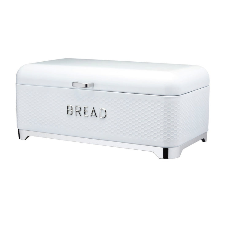 Kitchencraft Lovello Ice White Bread Bin with Textured Finish
