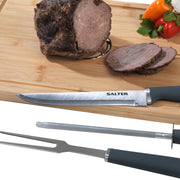 Salter 3 Piece Stainless Steel Meat Carving Set with Knife Fork and Sharpener