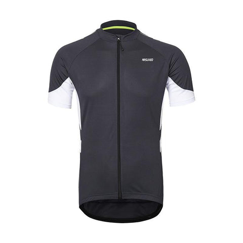 ARSUXEO Men's Full Zipper Cycling Short Sleeve MTB Jersey