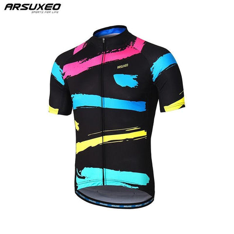 ARSUXEO Mens Cycling Jersey Short Sleeves Mountain Bike Bicycle Shirts