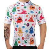 Scary Animals Cartoon Mosaic Pattern Retro Cycling Jersey