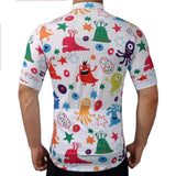 Retrp Cycling Jersey Scary Animals Cartoon Mosaic Pattern Retro Cycling Jersey