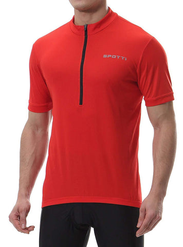 Spotti Men's Cycling Bike Jersey Short Sleeve with 3 Rear Pockets